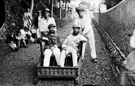 Descida em carro de cesto no caminho do Monte, freguesia do Monte, concelho do Funchal - Segunda metade do Séc. XIX