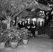 Carmen Franco e o governador civil, João Inocêncio Camacho de Freitas, na Quinta das Cruzes, Freguesia de São Pedro, Concelho do Funchal