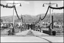 Cais do Funchal e arco do Triunfo, para a visita do general Óscar Carmona, Freguesia da Sé, Concelho do Funchal