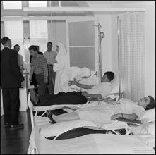 Dadores de sangue na sala de extração do banco de sangue do Hospital da Santa Casa da Misericórdia do Funchal (atual Hospital dos Marmeleiros), Freguesia do Monte, Concelho do Funchal