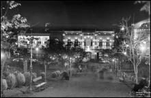 Iluminações de Natal e Fim de Ano no jardim Municipal e num edifício a sul do mesmo, na avenida Arriaga, Freguesia da Sé, Concelho do Funchal